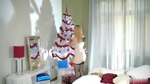 Alana Moon in tight stockings doggy style on Christmas