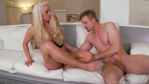 Hard nailining next to tattooed blonde hair Holly Heart in HD