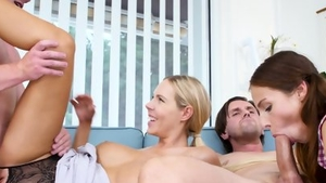 Group sex in company with big boobs brunette