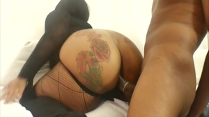 Doggy fucks in company with big tits cuban brunette