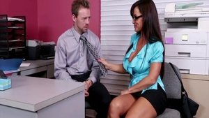 Cheating in office with busty asian cougar Lisa Ann