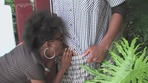 Hairy ebony amateur getting a facial outdoors