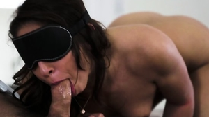 Bondage in company with brunette