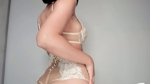Perfect body brunette rides a hard dick HD