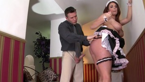 Busty maid goes wild on cock