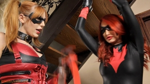 Bondage in company with nice american redhead