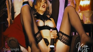 Solo very hot vampire in stockings sucking cock on Halloween