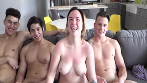Raw group sex accompanied by young bisexual