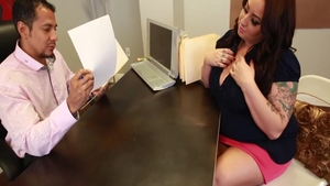 Busty & large boobs BBW reality cumshot in office