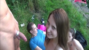 Foursome along with young teen chick