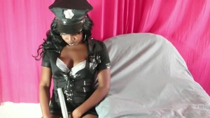 Amongst curvy ebony police woman