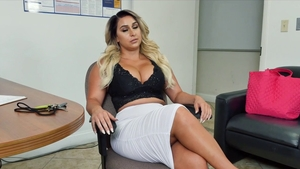 Busty & piercing cougar surprise anal fucking in office