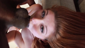 Blowjob escorted by large tits babe Rose Red