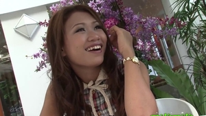 Shaved asian girl rushes hard pounding in HD