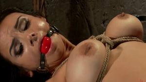 Brunette Ariel X in tight stockings raw BDSM at the party
