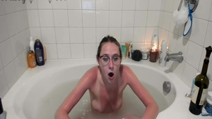 Small boobs slut wearing glasses pussy eating on webcam