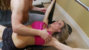 Busty muscled cougar Brandi Love blowjobs at the gym HD