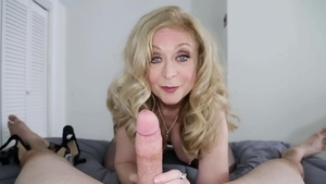Shaved mature Nina Hartley POV finds dick to fuck