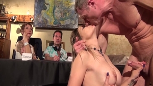 Busty french chick receives ramming hard