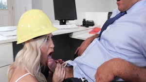 Charming perfect babe erotic blowjob cum in office