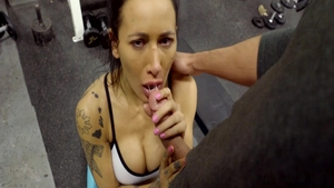 Skinny brunette finds dick to fuck at the gym