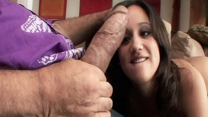 Cumshot escorted by perfect chick in panties