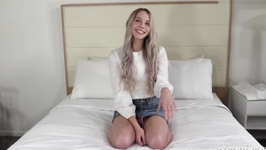 Toys at casting among cute teen chick