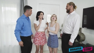 Blonde babe Riley Jean as well as Aria Banks group sex