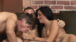 Inked brunette need gets hard nailining in HD