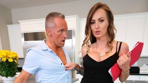 Mature Natasha Starr in heels fucked missionary in the kitchen
