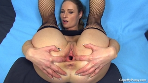 Exotic chick stepmom in tight stockings gaping solo