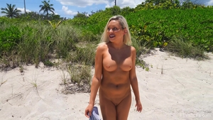 Large tits MILF flashing outdoors in HD