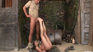 Lewd & erotic babe in uniform footjob