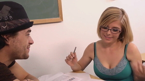 Penny Pax wearing glasses sucking dick after classes HD
