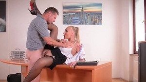 Busty secretary Aletta Ocean needs real fucking