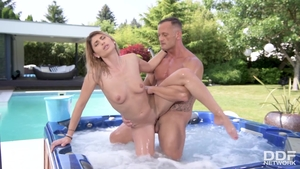 Horny babe raw ass pounded in jacuzzi