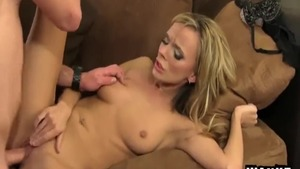 Cumshot in company with shaved caucasian couple Pristine Edge