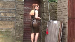 Redhead slapping outdoors