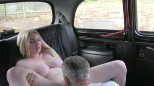 Rough fucking super cute blonde in sexy lingerie in a taxi